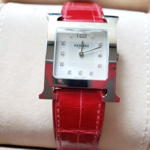Hermes Heure H Aligator Band Diamond Watch